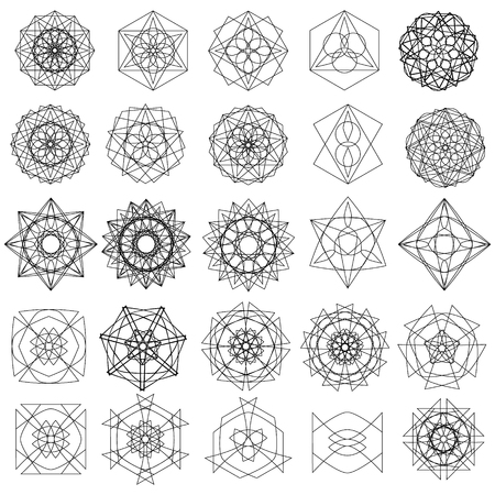 Holiday patterns of stars and flowers for gifts geometric pentagram Фото со стока - 127420901