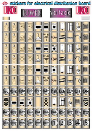 stickers for electrical distribution board consumer electrical safety, electricity, current protection