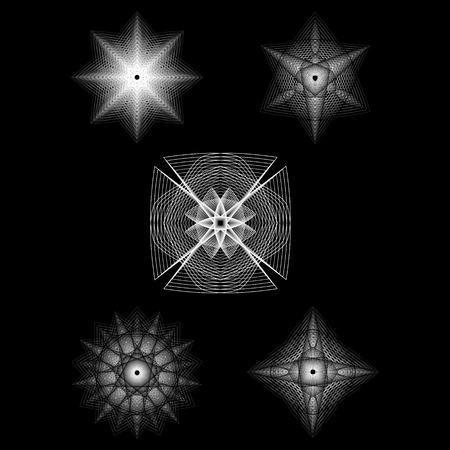 Holiday patterns of stars and flowers for gifts geometric pentagram Stockfoto - 126946844