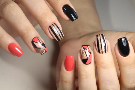 Youth nail design gel Polish manicure 스톡 콘텐츠