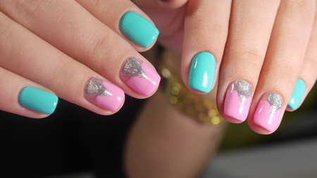 Summer Design Nails Of Rainbow Manicure Stock Photo Picture And