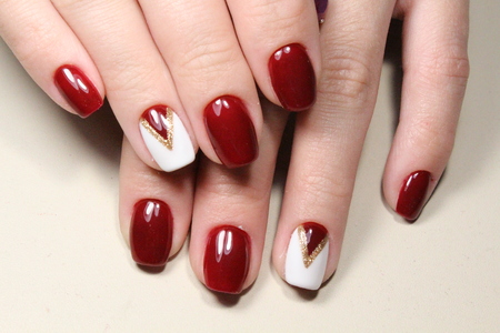 Manicure design nails red and white photo - Manicure Design Nails Red And White Geometry Stock Photo, Picture