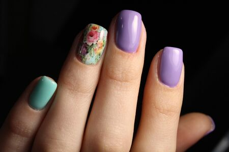 Gentle manicure nail design gel with lacquer Stock Photo