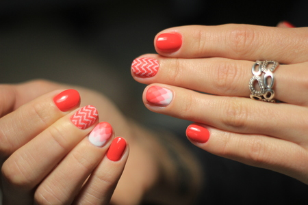 Manicure nail design, the best work of a professional master 版權商用圖片
