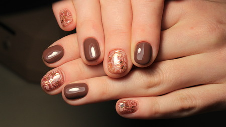 Manicure nail design, the best work of a professional master Stock Photo