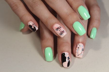 Manicure stamping design for beautiful, cute girls