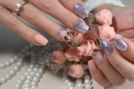 Youth manicure design, color coffee with rhinestones 2017