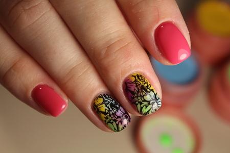 Bright, colorful design of manicure Stock Photo