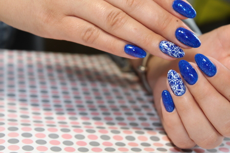 Blue stained glass, manicure design blue sky