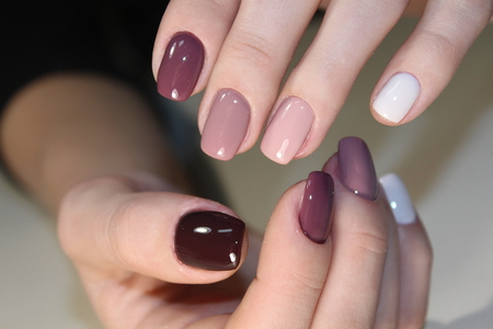 Youth manicure design, color coffee nails Stok Fotoğraf - 90256790