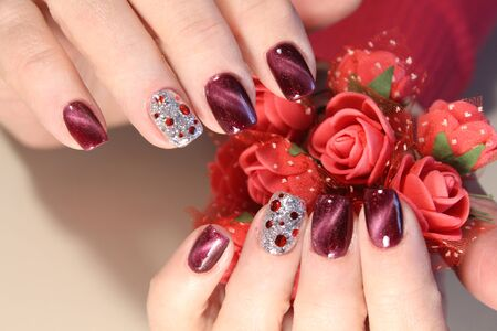 Christmas Nail art manicure. Winter Holiday style bright