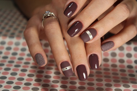 Steep and very stylish design of manicure Stockfoto