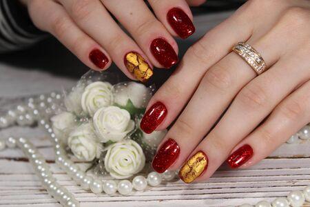 The refined beautiful female fingers with original design manicure