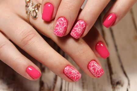Manicured Nails Nail Polish Art Design Best Stock Photo Picture