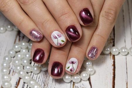 Youth manicure design best nails, gel varnish Stock Photo