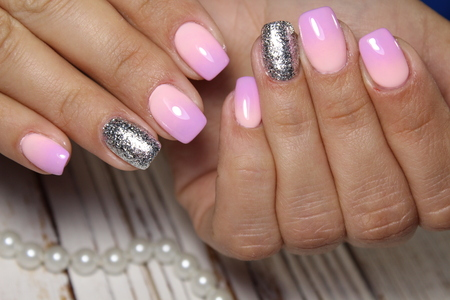 Closeup Of Woman Hands With Nail Design Trendy Crackle Nail Stock