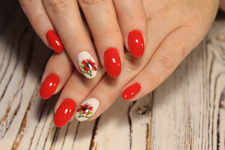 Amazing natural nails. Women's hands with clean manicure. Gel polish applied.