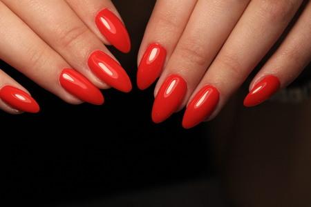 fashionable female manicure gel varnish with beautiful design