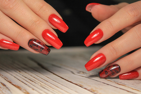 Fashionable design of manicure from girls