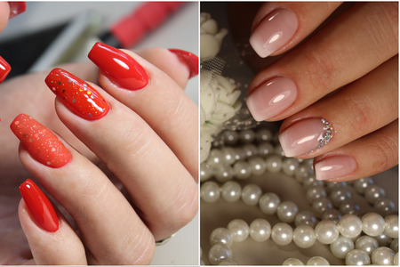A Diverse Range Of Nail Design.Solid Color Manicure With Bright ...