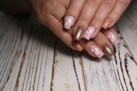 manicure with long nails on a trendy texture background Reklamní fotografie - 121502181