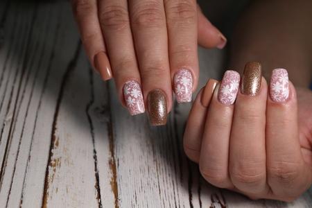 stylish design of manicure on long nails Reklamní fotografie - 121502278