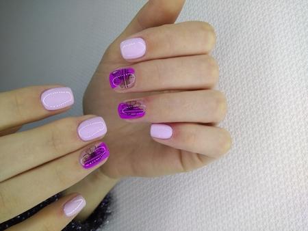 stylish design of manicure on long nails Reklamní fotografie - 121502366