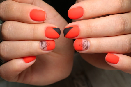 The beauty of the natural nails. Perfect manicure Archivio Fotografico - 123591897
