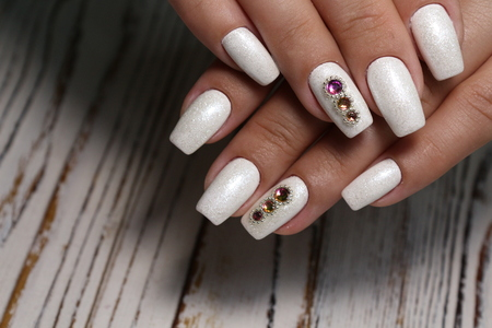 The beauty of the natural nails. Perfect manicure Archivio Fotografico - 123591946