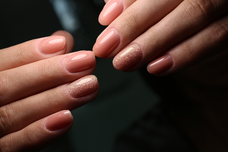 The beauty of the natural nails. Perfect manicure Archivio Fotografico - 123591939