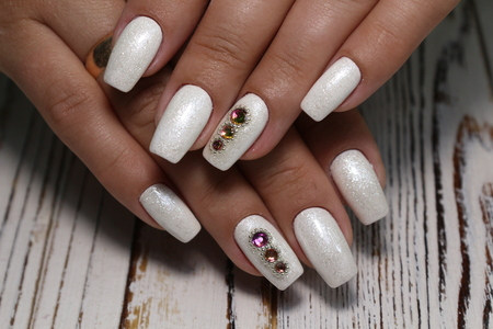 The beauty of the natural nails. Perfect manicure Archivio Fotografico - 123591940