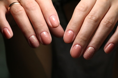 The beauty of the natural nails. Perfect manicure Archivio Fotografico - 123592058