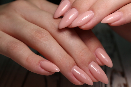 The beauty of the natural nails. Perfect manicure Archivio Fotografico - 123592093