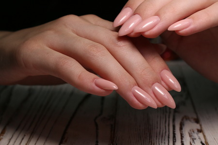 The beauty of the natural nails. Perfect manicure Archivio Fotografico - 123592094
