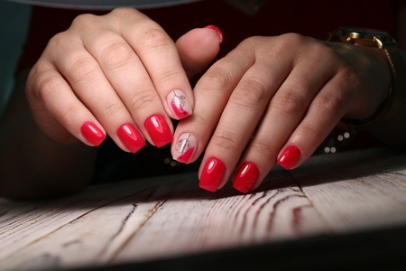 cropped view of female hands with nails Archivio Fotografico - 123592100