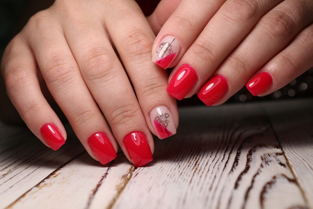 The beauty of the natural nails. Perfect manicure Archivio Fotografico - 123592102