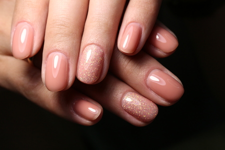 The beauty of the natural nails. Perfect manicure Archivio Fotografico - 123592109
