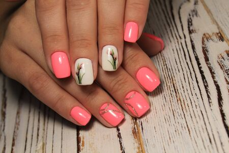 fashion manicure with a design on a beautiful texture