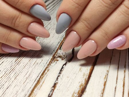 Hands Care. Hand With Pastel Nails In Sea Salt. Stok Fotoğraf - 134587783