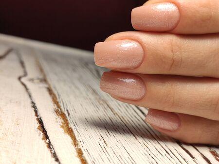 Youth manicure design, beautiful female hands Stok Fotoğraf - 134587894