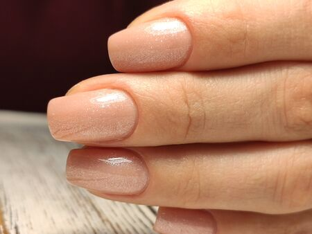 Hands Care. Hand With Pastel Nails In Sea Salt. Stok Fotoğraf - 134587895