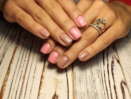 Youth manicure design, beautiful female hands Stok Fotoğraf - 134587898