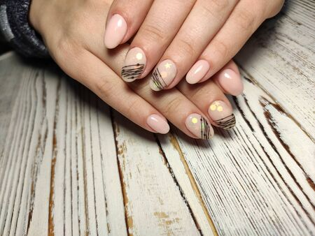 Hands Care. Hand With Pastel Nails In Sea Salt. Stok Fotoğraf - 134587907