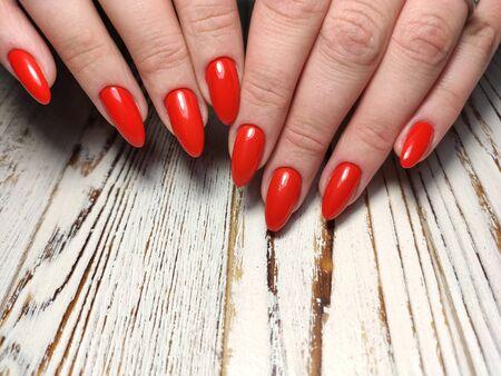 Youth manicure design, beautiful female hands Stok Fotoğraf - 134587912