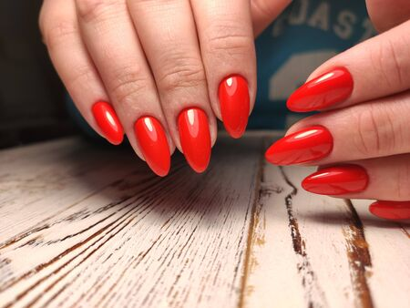 Youth manicure design, beautiful female hands Stok Fotoğraf - 134587916
