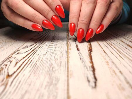 Youth manicure design, beautiful female hands Stok Fotoğraf - 134587917