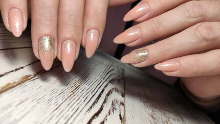 Hands Care. Hand With Pastel Nails In Sea Salt. Stok Fotoğraf - 134587936