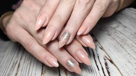 Beautiful Female Hands. Beautiful hand with perfect nail 2019 Stok Fotoğraf - 134587937