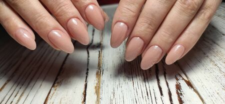 Hands Care. Hand With Pastel Nails In Sea Salt. Stok Fotoğraf - 134587944