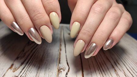 Hands Care. Hand With Pastel Nails In Sea Salt. Stok Fotoğraf